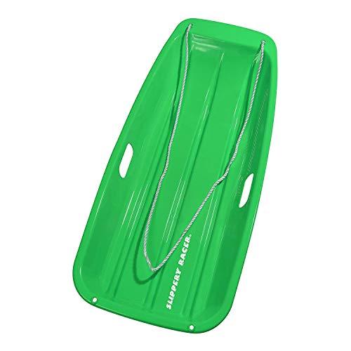 Slippery Racer Downhill Sprinter Flexible Kids Toddler Plastic Toboggan Snow Sled with Pull Rope, Green