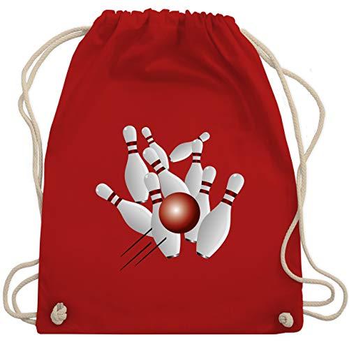 Shirtracer Bowling & Kegeln - Kegeln alle 9 Kegeln Kugel - Unisize - Rot - kegeln - WM110 - Turnbeutel und Stoffbeutel aus Baumwolle
