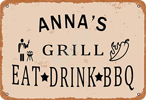 Keely Anna's Grill Eat Drink BBQ Metal Vintage Tin Sign Wall Decoration 12x8 inches for Cafe Bars Restaurants Pubs Man Cave Decorative