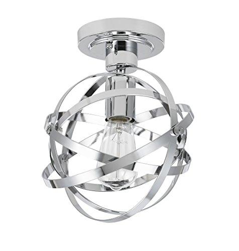 Catalina Lighting 20666-001 Orbit Chrome Metal 1-Light Orb Semi Flushmount