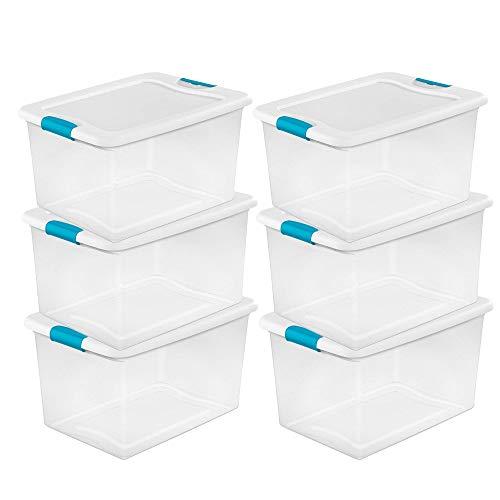 Sterilite 64 Quart Clear Storage Tote WLid 23-34x16x13-12 - Lot of 6