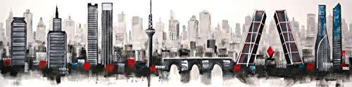 Cuadro Pintado Skyline de Madrid 165x42 cm, Moderno, en Blanco y Negro con Detalles en Rojo. sobre Lienzo, Listo para Colgar. Hecho a Mano. El Manzanares, Torre España, Torres Kio, Las 4 Torres.