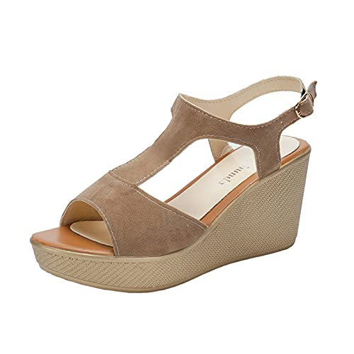 Wedge Sandals for Women New Women Sexy High Heel Shoes Womens Suede T-Shaped Platform Sandals Roman Sandals Fashion Ladies Party Shoes Outdoor Casual Non-Slip Beach Sandals Comfy Work Shoes