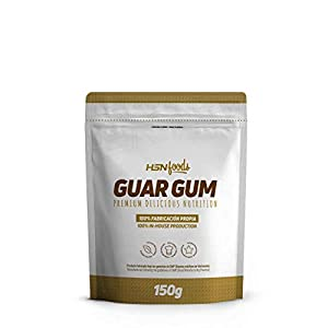 HSN Goma Guar en Polvo Espesante Natural y Saludable para Recetas | Fuente de Fibra + Saciante | Vegano, Sin Gluten, Sin Lactosa, 150 gr