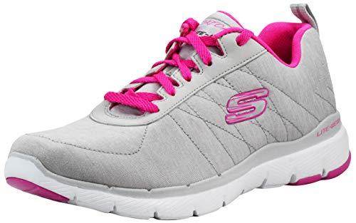 Skechers Women's Flex Appeal 3.0 Insiders Light Grey/Hot Pink Sneaker 8.5 M US
