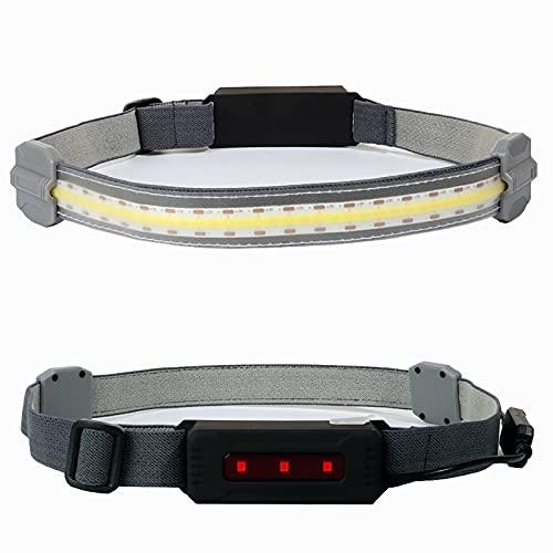 Linterna Frontal LED Luz de Trabajo Diadema Advertencia de luz roja Recargable - Haz Ancho con Cable de Carga USB Tira superbrillante 3 Modos Linterna Frontal Impermeable