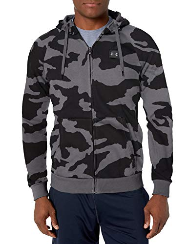 Under Armour Rival Fleece Camo Full Zip Hoodie, Pitch Gray (012)/Black, 3X-Large