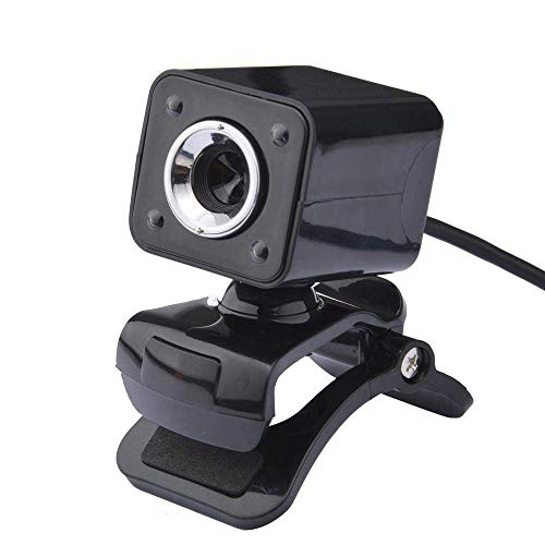 Brand USB 2.0 4 LED HD Webcam Camera webcam for Computer PC Laptop met MIC Zwart, Rood lili (Color : Black)