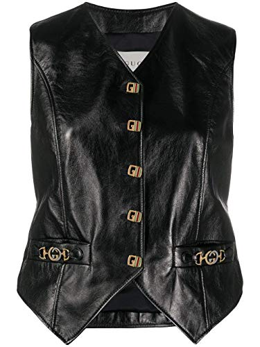 Luxury Fashion | Gucci Dames 609817XNAIX1000 Zwart Leer Gilets | Lente-zomer 20