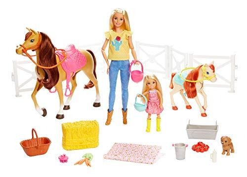 Barbie - Muñecas Barbie y Chelsea con caballos y accesorios, regalo para niñas y niños 3-9 años (Mattel FXH15), Embalaje estándar