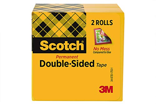 Scotch Double Sided Tape, 1/2 x 900 Inches, Boxed, 2 Rolls (665-2PK)
