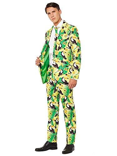 OFFSTREAM Faschingskostüme für Herren - Mit Jackett, Hose und Krawatte mit Festlichen Print, L, Tropical Green