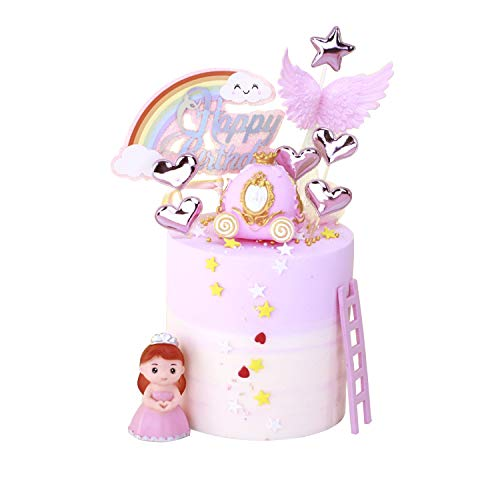 KATELUO Decoración de Tartas de Cumpleaños, Cake Topper, Decorar Tartas Infantiles, Princesa, Carro de Calabaza, Arco Iris, Alas de ángel, Corazón, Escaleras Pastel Topper para Niños Niñas
