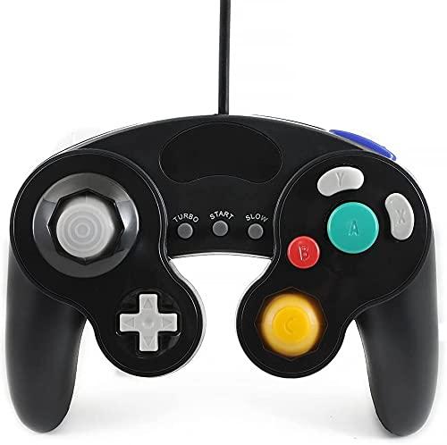 QUMOX Controlador Mando de Juego con Cable clásico Joypad Gamepad para Nintendo Gamecube gc y Wii, Negro (función Turbo...
