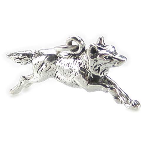 Laufender Wolf, Amulett aus 925er-Sterlingsilberx 1Wölfe und Wolf Amulette SSLP4744