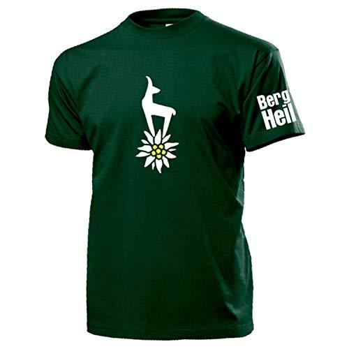 Berg Heil Bergsteiger Gams Edelweis Blume Alpen Sachsen Treking - T Shirt #14071, Farbe:Grün, Größe:L