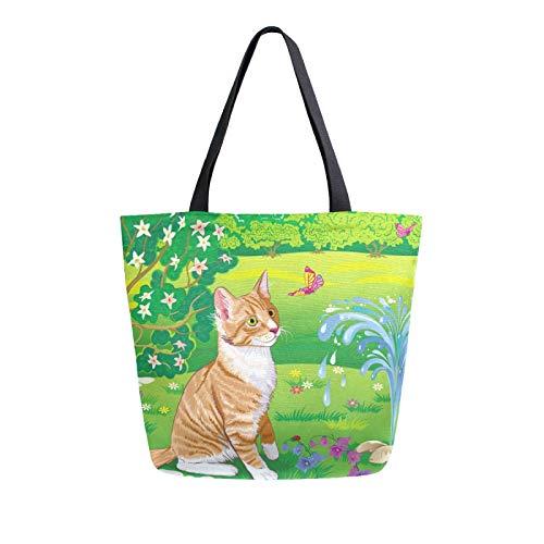 JinDoDo Canvas Bag Cat Butterfly Garden Reusable Tote Bag Women Handbag for Shopping Travel Beach School
