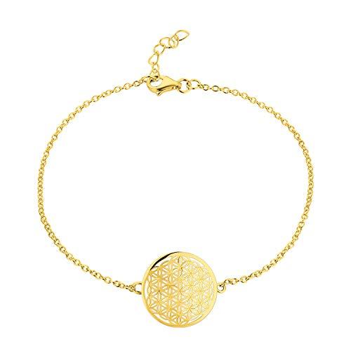 JO WISDOM Damen Armband Blumelebens Silber 925 Blume des Lebens Fußkettchen mit rosévergoldet,18cm+20cm