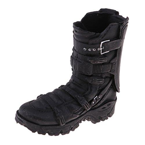 F Fityle Stivali in Scala 1/6 Scarpe di Colore Nero Accessori per Abbigliamento per Action Figure da 12 '' - Stivale da Combattimento Nero, 4,8 cm x 4,6 cm