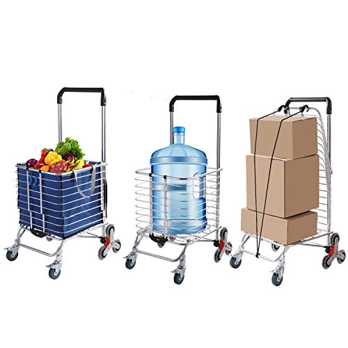 Grocery Cart with Wheels Folding Shopping Cart with Large Heavy-Duty and Rolling Swivel Wheels, Utility Lightweight Stair Climbing cart with Removable Waterproof Canvas Bag