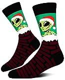 Men's Novelty Christmas Crew Socks, Crazy Alien Santa Claus Snowman Funny Socks