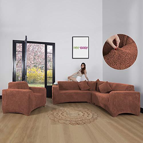 Mixibaby Eck Sofabezug Sofahusse Sesselbezug Sitzbezug Sesselüberwurf Sofahusse Wellsoft, Farbe:Rostbraun