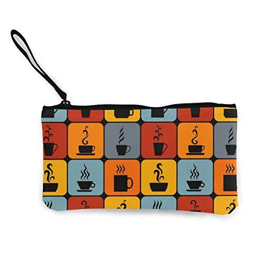 Frauen Leinwand Geldbörse, helle Fliesen mit Bechern und Tassen Muster Brieftasche Münz Geldbörse Leinwand Reißverschluss Tasche Brieftasche zum Geburtstag