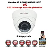 Europ-Camera Dôme IP Zoom Motorisée X5 Anti-Vandal IR 35M ONVIF POE Capteur Sony 5 MegaPixels - Caméra Surveillance IP