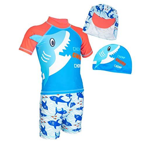 4Mybebe Traje de Baño para Niño Playa Alberca Natacion, Playera+ Short + Gorro Sol + Gorro Natación (Tiburón Cool, Talla 14)