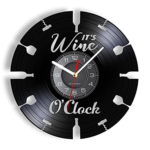 ROMK Reloj de Pared Moderno It's Wine O'Clock Reloj de Pared de Vinilo Grabado Botella de Vino Abridor de Vidrio Reloj con iluminación LED Arte de Registro Retro Tallado