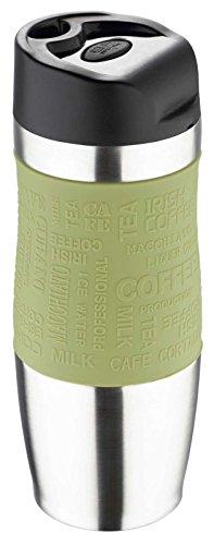 Edelstahl Coffee-to-go Becher 400 ml Kaffeebecher Deckel mit Trinkverschluss (Thermoflasche, Isolierflasche, Isolierbecher, Thermobecher, Silikon Hülle Oliv Grün)