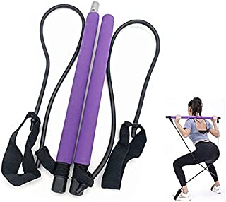LVZHOU Portable Pilates Bar Kit with Resistance Band Yoga Pilates Stick Kit Body Shaping Pilates Stick with Foot Loop for ...