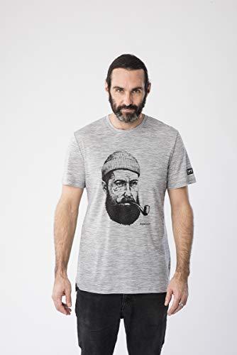 super.natural Herren Kurzarm T-Shirt, Mit Merinowolle, M GRAPHIC TEE, Größe: L, Farbe: Grau meliert/Schwarz