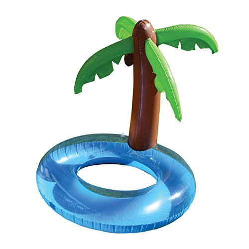 Jumbo 50-inch x 48-inch Fun Inflatable Island Palm Tree Raft And Pool Float, Foldable And Portable Heavy Duty Vinyl, 250-pound Weight Capacity