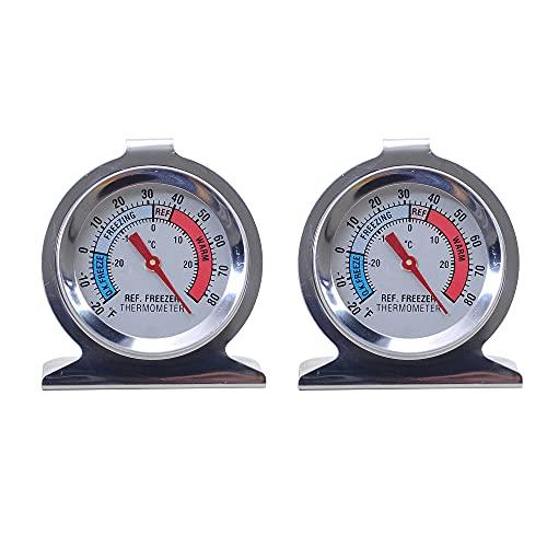 MUXIJIA 2 Piezas Termómetro Frigorífico con Doble Escala -30°C a 30°C / -20°F a 80°F de Acero Inoxidable Termómetro de Congelador para Hogar, Restaurante, Bar