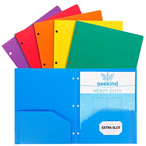 SEEKIND Folders with Pockets, Heavy Duty Plastic 2 Pocket Folders, Plastic Folders 3 Hole Punched Suitable for Various Places Such as Office and School Supplies(6 Packs)