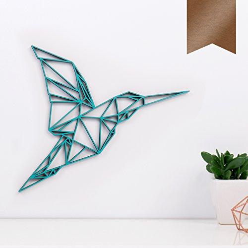 KLEINLAUT 3D-Origamis aus Holz - Wähle EIN Motiv & Farbe - Kolibri - 30 x 26,5 cm (L) - Kupfer
