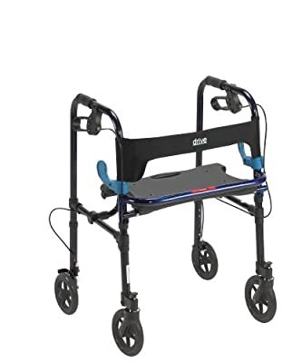 """Drive Medical Deluxe Clever Lite Rollator Walker with 8"""" Casters, Flame Blue, Adult"""