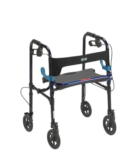 Drive Medical Deluxe Clever Lite Rollator Walker with 8quot Casters Flame Blue Adult