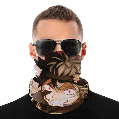 Men Women UV Protection Neck Gaiter Balaclava, Cold Protection Dustproof Japanese Anime Black Clover Asta Face Mask Headscarves, Multifunctional Face Cover Bandana for Walking Motorcycle Hunting