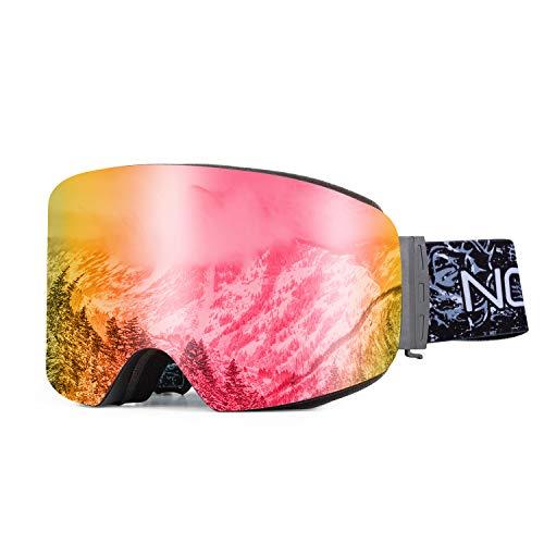 Sharkborough NODLAND P1 Skibrille OTG Over The Glass Anti-Fog Snowboardbrille, UV400 austauschbare Zweischicht-Skibrille für Herren Damen Rot