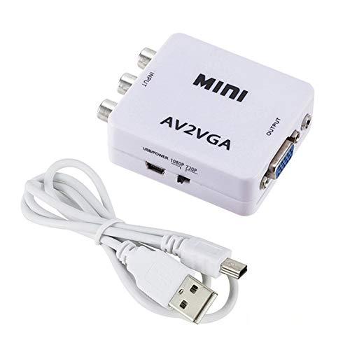Rouku AV2VGA Video Converter Box AV RCA CVBS zu VGA Video HDTV Adapter Monitor AV Video zu Vga Monitor (weiß)