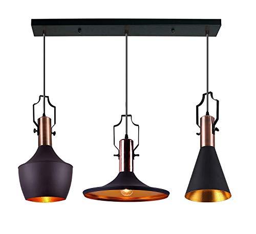 K.LSX Hanglampen voor Keuken Eiland, Retro Industriële Steampunk Verlichting Plafond Lampen Metalen Shade Kroonluchter, Perfect voor Slaapkamer Woonkamer Eetkamer Verlichting Fixture