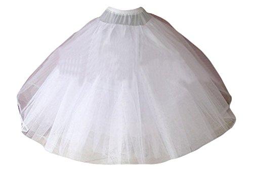 Poplarboy Women's 4 Layers Tulle Petticoats Wedding Dress Bridal Underskirt Crinoline Slip Larges Full White