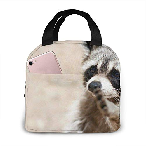 Smart Animals Racoon Portable Insulated Lunch Bag Waterproof Lunch Handbag Food Zipper Storage Lunch Box Keep Warm H with