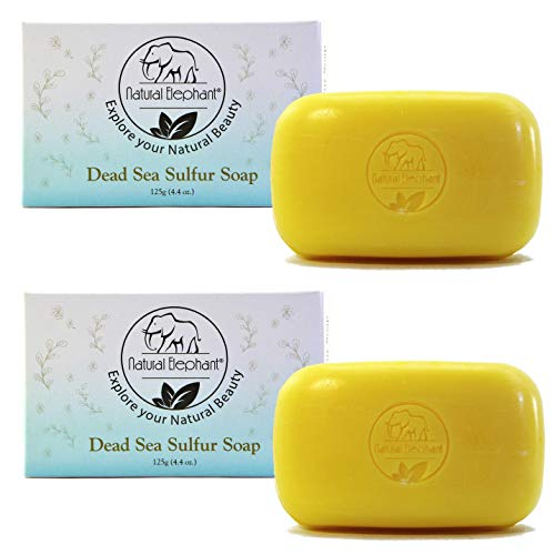 Dead Sea Sulfur Soap 4.4 oz 2 Pack (2 Soap Bars) by Natural Elephant