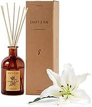 Reed Diffuser Sticks 'Jasmine & Lily Scent' Set, Includes 8 Rattan Scented Sticks Diffuser Reeds, All-Natural Essential Oil & Elegant Amber Glass Vase (5.75oz), Provides Constant Fragrance