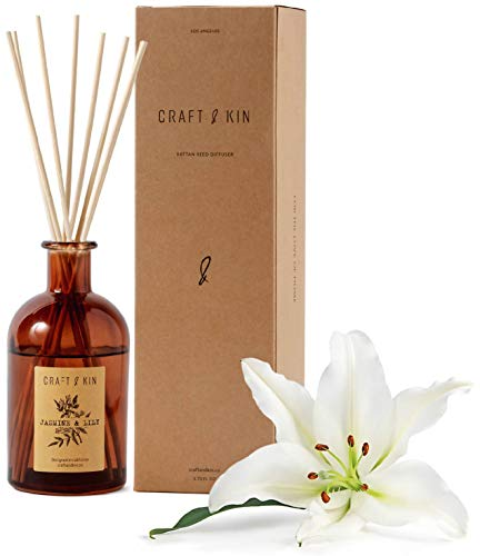 Reed Diffuser Sticks 'Jasmine & Lily Scent' Set, includes 8 Rattan Scented Sticks Diffuser Reeds, All-Natural Essential Oil & Elegant Amber Glass Vase (5.75oz), Provides Constant Fragrance