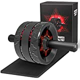 Wishstar AB Roller Wheel, Roue AB avec Tapis pour Les Genoux, Abdominaux Appareil Musculation, pour Gym Fitness et l'entraînement des Abdominaux(Rouge)