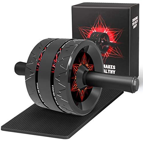 Wishstar AB Roller Wheel, Trainer Addominali, Professionale Ruota Allenamento con Tappetino per Le Ginocchia, Allenamento di Forza Fitness in Palestra o a Casa(Rosso)
